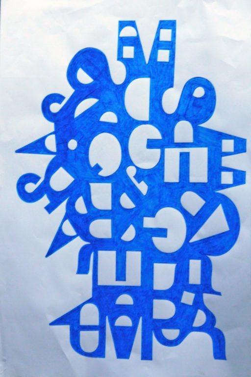 Have a blue go Joseph Bienvenu water-based ink on paper